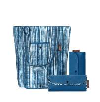 SACHI 3 Piece Market Tote Set – Insulated Thermal Reusable Grocery Bags for Cold and Hot Foods – Lightweight, Portable and Fold-able (Blue Denim Stripes)