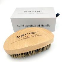Parker's Natural Beechwood Boar Bristle Beard Brush & Hair Brush - Ergonomic Handle - Packaged in a Gift Box too - An Essential Men's Grooming Tool