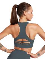 Women Racerback Sports Bra High Impact Support Running Yoga Workout with Removable Pads Phone Packet