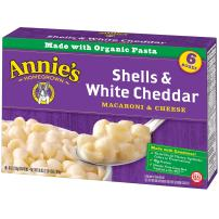 Annie's Macaroni and Cheese, Shells & White Cheddar Mac and Cheese, 6 Ounce, 24 Count (Pack of 4)