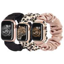 TOYOUTHS 3 Packs Compatible with Apple Watch Band Scrunchies 42mm Cloth Soft Pattern Printed Fabric Wristband Bracelet Women IWatch Elastic Scrunchy Bands 44mm Series SE 6 5 4 3 2 1