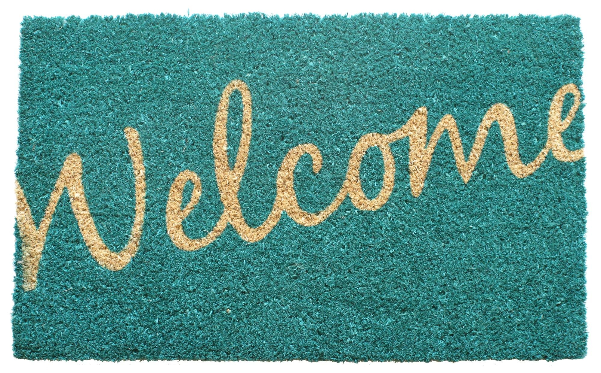 "Entryways Cursive Welcome Non- Slip Coconut Fiber Doormat 17"" X 28"" X .5"""