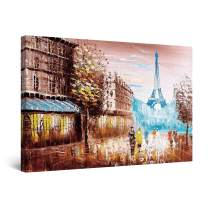 """Startonight Canvas Wall Art Abstract - Teal Eiffel Tower Paris France Painting - Large Framed 32"""" x 48"""""""