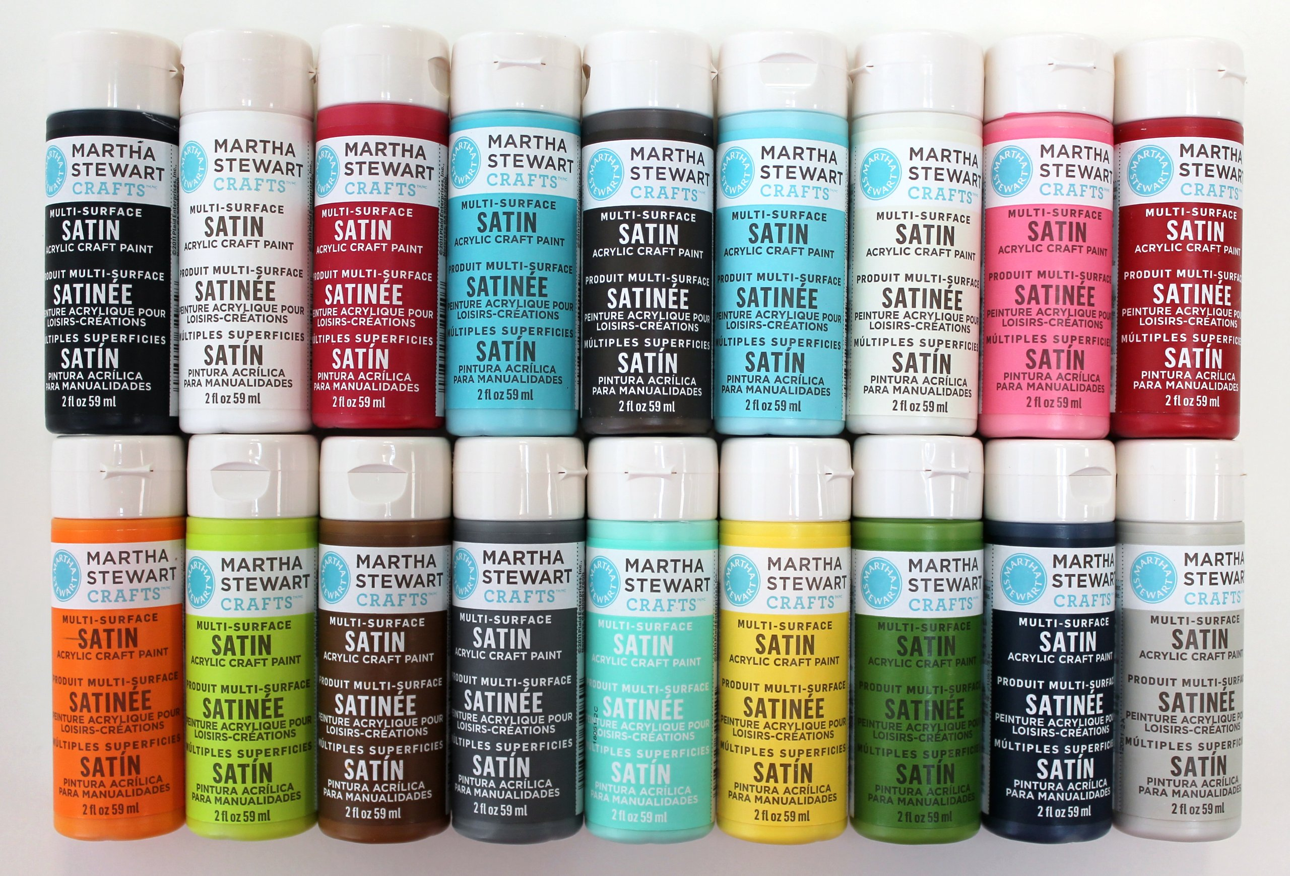 Martha Stewart Crafts Multi-Surface Satin Acrylic Craft Paint (2-Ounce), PROMO767C Best Selling Colors I