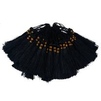 100pcs Triple Colored 14cm/5.5 Inch Silky Floss Bookmark Tassels with 2.16-Inch Cord Loop and Small Chinese Knot for Jewelry Making, Souvenir, Bookmarks, DIY Craft Accessory (Black)