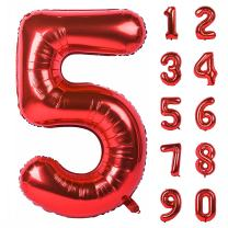 40 Inch Red Large Numbers 0-9 Birthday Party Decorations Helium Foil Mylar Big Number Balloon Digital 5
