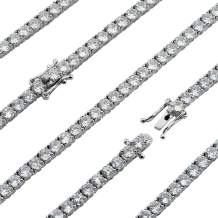 """Premium CZ Tennis Chain Made From Jewelers Alloy With Secure Box Lock. Available in Widths 3MM, 4MM, 5MM and in Lengths 30"""", 28"""", 26"""", 24"""", 22"""", 20"""", 18"""", 16"""", 9"""", 8"""""""