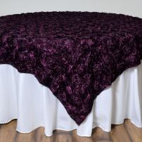 BalsaCircle 72x72-Inch Eggplant Purple Raised Roses Table Overlays - Wedding Reception Party Catering Table Linens Decorations