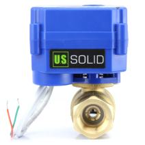 """Motorized Ball Valve- 1/2"""" Brass Ball Valve with Full Port, 9-24V AC/DC and 2 Wire Auto Return Setup by U.S. Solid"""