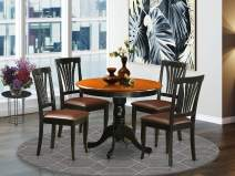 East-West Furniture ANAV5-BLK-LC dining set- 4 Fantastic dining chairs - A Beautiful round dining table- Faux Leather seat and Black Finnish Dining Table