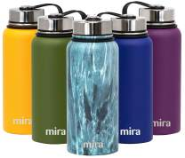 MIRA 32 Oz Stainless Steel Vacuum Insulated Wide Mouth Water Bottle - Thermos Keeps Cold for 24 hours, Hot for 12 hours - Double Wall Hydro Travel Flask - Blue Granite