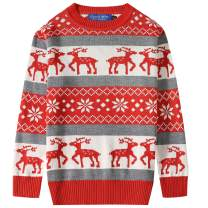 Camii Mia Big Boys' Reindeer Pullover Snowflake Crewneck Ugly Christmas Sweater