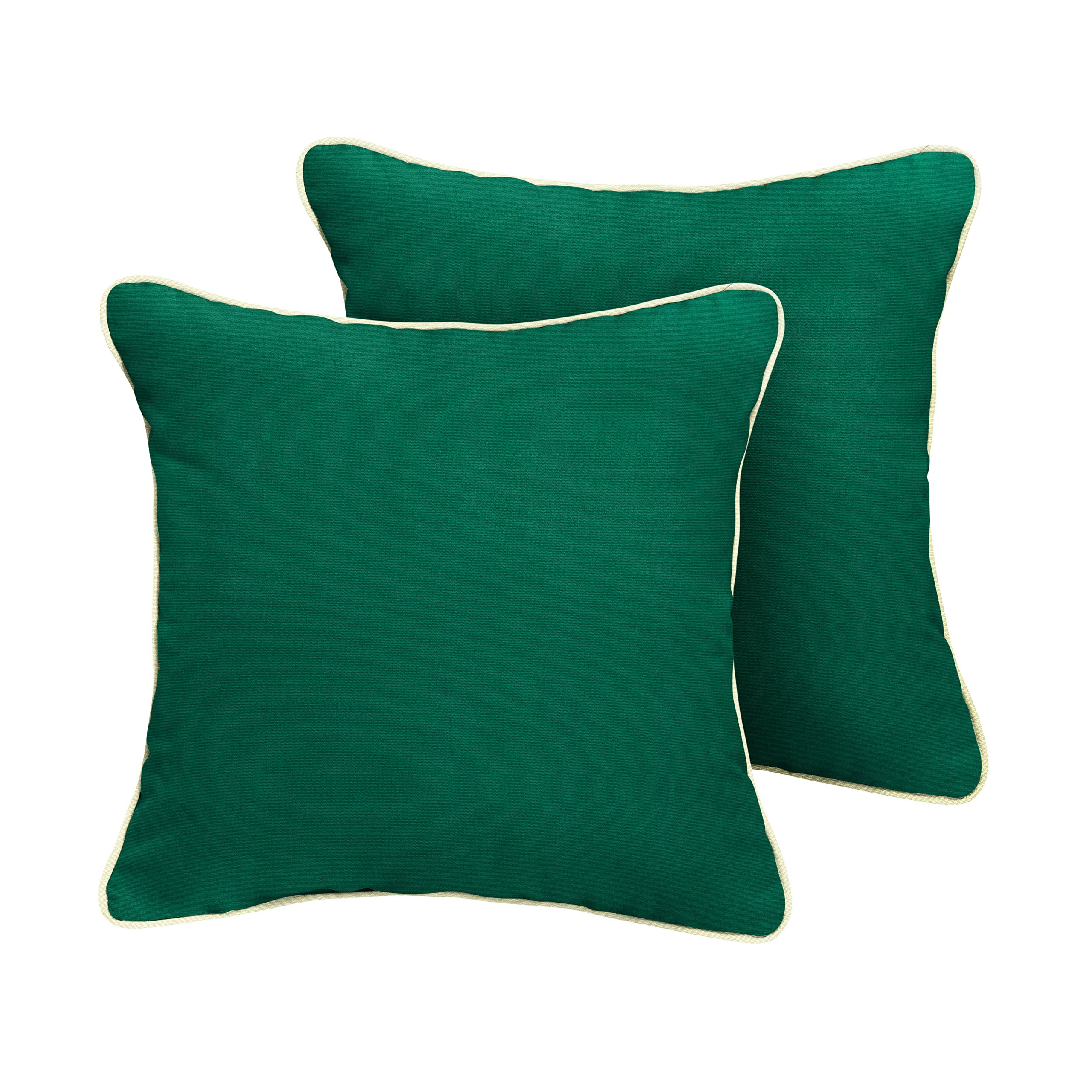 Mozaic Company Sunbrella Indoor/ Outdoor Corded Pillows, Canvas Forest Green and Canvas Natural, Set of 2
