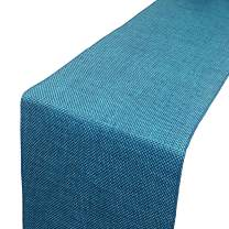 Parfair Dessin Burlap Jute Pattern Polyester Bed Runners - High Density Heavy Fabric - Bed Decoration for Home, Hotel, Resorts (Blue - 180x50 cm for 180 cm Bed)