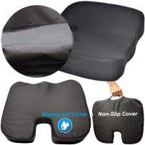 OKWU COMFORT Waterproof Seat Cushion Pad with Free Non-Slip Cover Straps Carrying Handle Coccyx Car Office Chair Pressure Sore Relieving Wheelchair Memory Foam - Nurse and Therapists Recommended