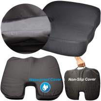 OKWU COMFORT Waterproof Seat Cushion Cover with Free Non-Slip Cover Straps Carrying Handle Coccyx Car Office Chair Pressure Sore Relieving Wheelchair Memory Foam - Nurse and Therapists Recommended