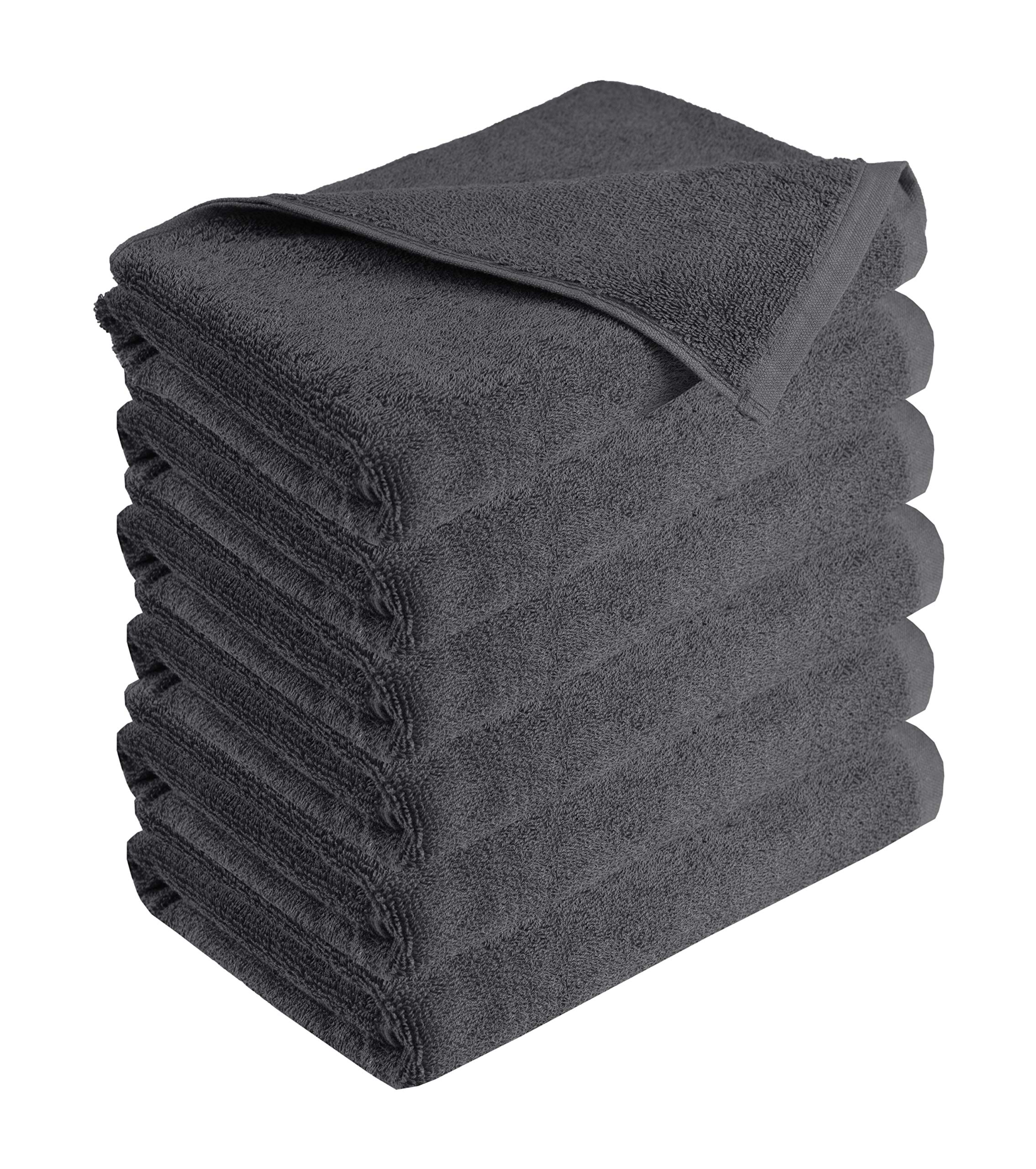 GLAMBURG 100% Cotton 6 Pack Charcoal Bath Towels 22x44 for Hotel Spa Gym Pool Yoga - Lightweight Soft Absorbent Quick Drying - Multipurpose Pool Gym Bath Towel Set