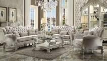 ACME Versailles Chair w/1 Pillow - - Ivory Velvet & Bone White