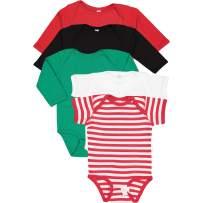RABBIT SKINS, 5-Pack 100% Cotton Baby Rib Long Sleeve + Short Sleeve Bodysuit, Santa- Black, Kelly, Red, White, Red/White Stripe, 18 Months