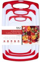 Raj Plastic Cutting Board Reversible Cutting board, Dishwasher Safe, Chopping Boards, Juice Groove, Large Handle, Non-Slip, BPA Free (Set of Three, Red)