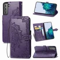 Urspasol for Samsung Galaxy S21 5G Case Samsung Galaxy S21 Wallet Case Mandragora Folio Flip Stand Credit Card Slot Kickstand Magnetic Closure Cover Wrist Strap for Galaxy S21 (2021) (Purple)