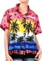 LA LEELA Women's American Flag Hawaiian Shirt Button Down Short Sleeve Shirt
