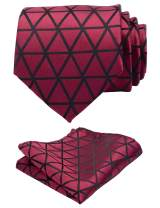 GUSLESON New Design Plaid Necktie For Wedding Solid Men Tie and Pocket Square Set