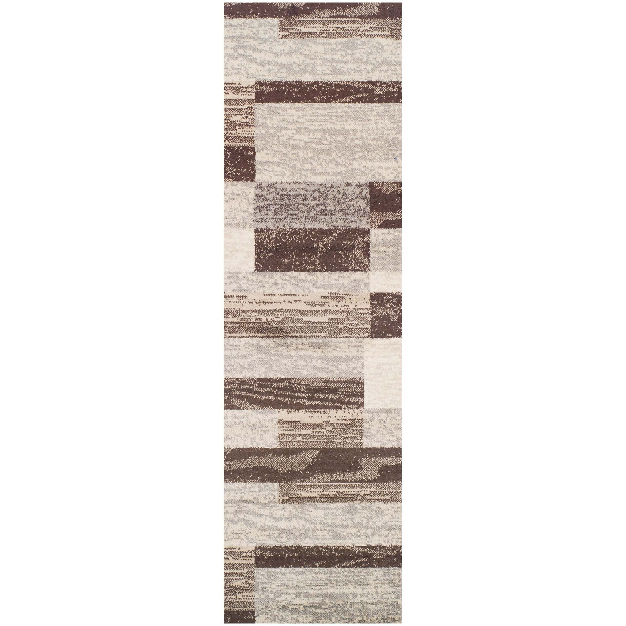 """Superior Modern Rockwood Collection Area Rug, 8mm Pile Height with Jute Backing, Textured Geometric Brick Design, Anti-Static, Water-Repellent Rugs - Slate, 2'7"""" x 8' Runner"""
