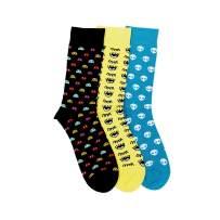 Soxytoes Men's Socks - Free Size, Corporate Novelty Calf Cotton Socks, Multicolor for Men, Pack of 3 (Funky Monkey)