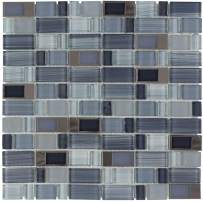 MTO0289 | Modern Assorted Rectangles Blue Grey Glass Metal Mosaic Tile