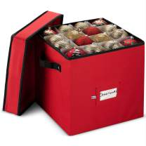 Premium Christmas Ornament storage Box with Lid - 3-inch Compartment, Storage Container Keeps 64 Holiday Ornaments and Xmas Accessories - Tear Proof 600D Oxford Fabric - 5 Year Warranty (Red)
