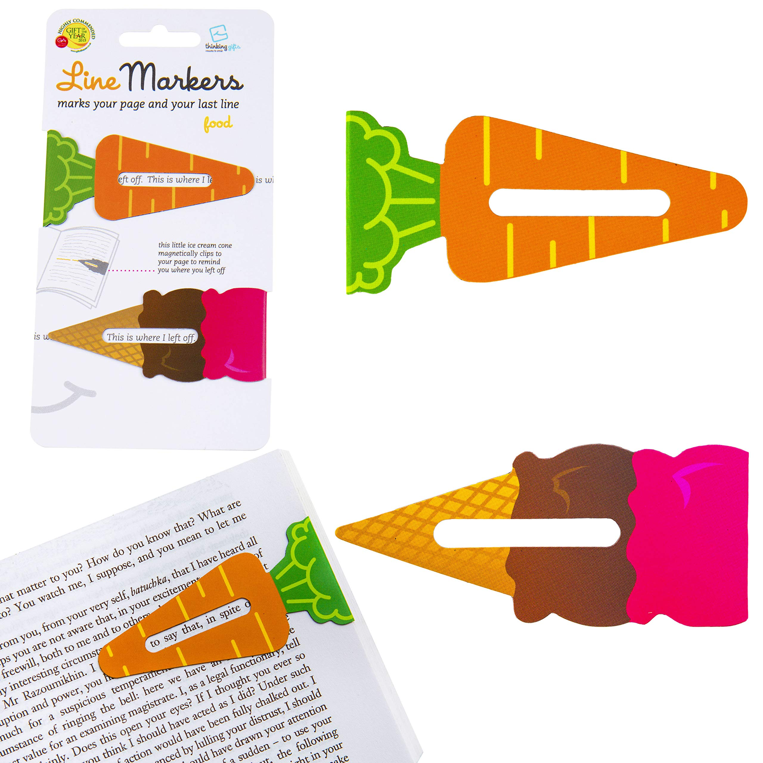 Line Markers Novelty Fun Magnetic Bookmark Page Holder Book Lover Reading Gift - Food