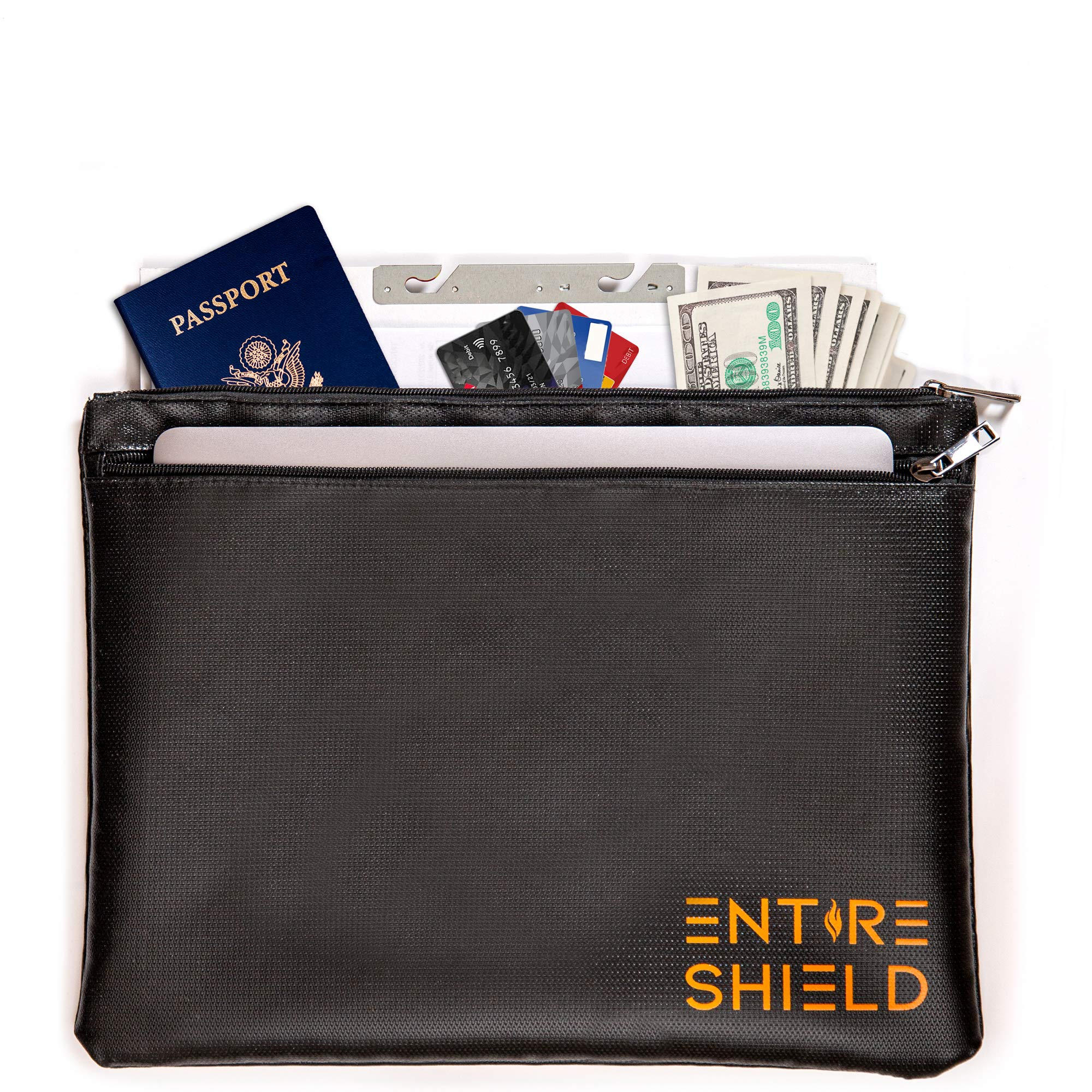 Entire Shield Fireproof Document Bag - Fire and Water Resistant Document Holder with 2 Pockets Money Pouch Waterproof Fireproof Money Bag for Cash Envelope Fire Proof Water Proof Documents Storage