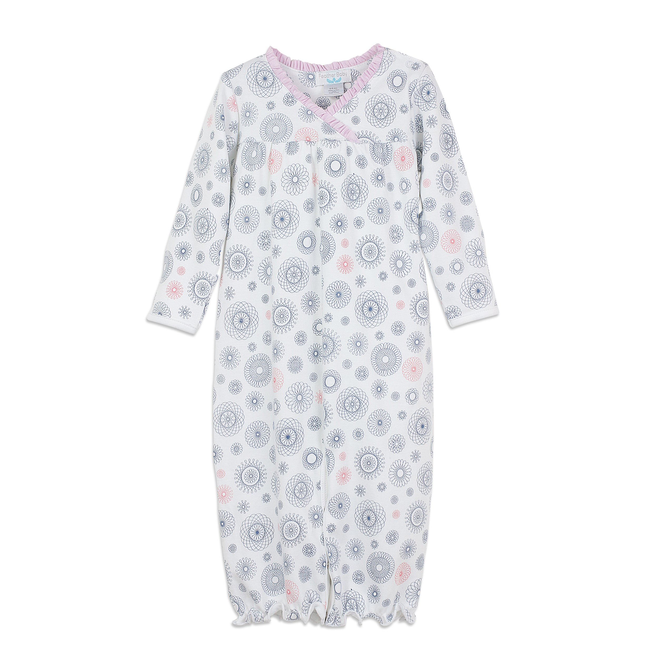 Feather Baby Girls Clothes Pima Cotton Crossover Converter Gown One-Piece Baby Sack