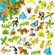Baker Ross ET1342 Rainforest Foam Stickers - Pack of 100, Perfect for Children to Decorate and Personalise Arts and Crafts Projects