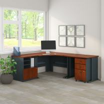 Bush Business Furniture Series A 48W Corner Desk with 36W Return and Storage in Hansen Cherry and Galaxy