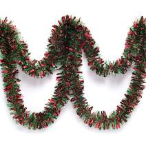 Anderson's Red and Green Metallic Tinsel Twist Garland 4 inches Wide x 25 ft Long