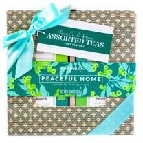 Thoughtfully Gifts, Assorted Teas in Printed Bamboo Gift Box, Set of 4 Flavors, Including Earl Grey Black Tea, Morroccan Mint Green Tea, Lemon Honey Green Tea, and English Breakfast Black Tea