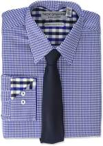 Nick Graham Men's Stretch Modern Fit Gingham Dress Shirt and Solid Tie Set