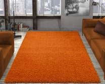 "Ottomanson Soft Cozy Color Solid Shag Area Rug Contemporary Living and Bedroom Soft Shag Area Rug, Orange, 6'7""L X 9'3""W"