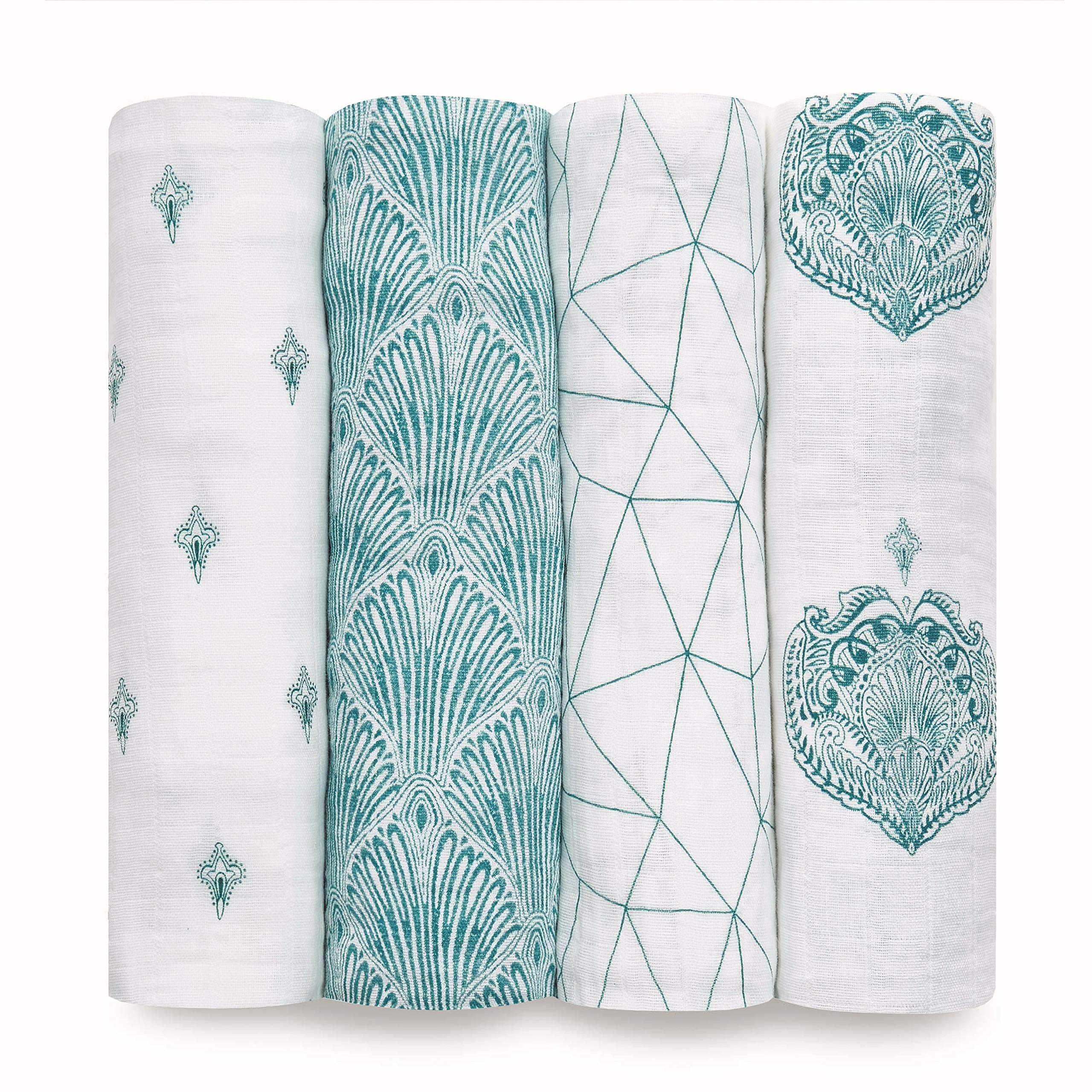 aden + anais Swaddle Blanket, Boutique Muslin Blankets for Girls & Boys, Baby Receiving Swaddles, Ideal Newborn & Infant Swaddling Set, Perfect Shower Gifts, 4 Pack, Paisley