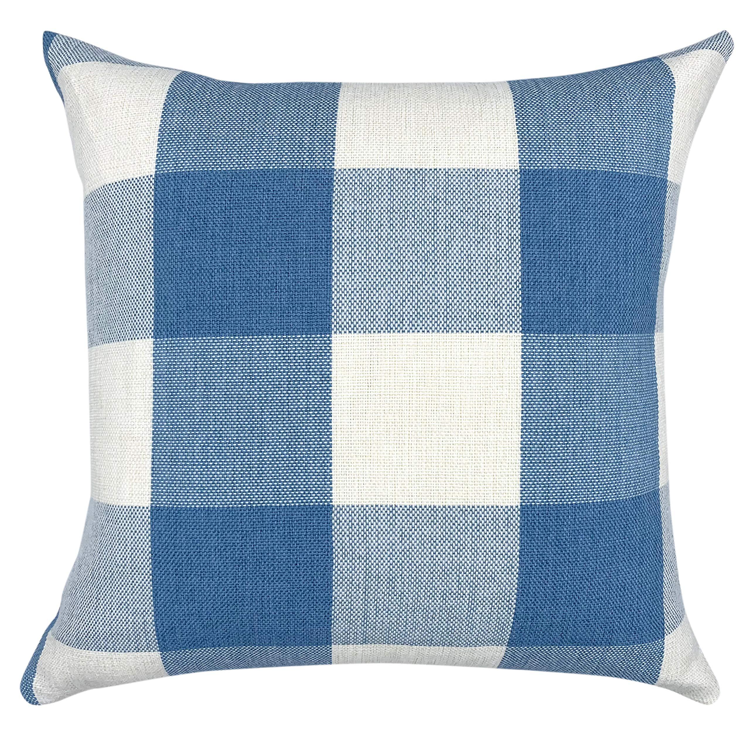 YOUR SMILE Retro Farmhouse Buffalo Tartan Checkers Plaid Cotton Linen Decorative Throw Pillow Case Cushion Cover Pillowcase for Sofa 20 x 20 Inch,Baby Blue/White