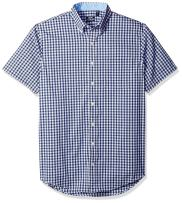 IZOD Men's Big and Tall Advantage Performance Short Sleeve Button Down Gingham Shirt