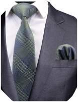 GUSLESON New Design Plaid Men Tie Wedding Necktie and Pocket Square Set