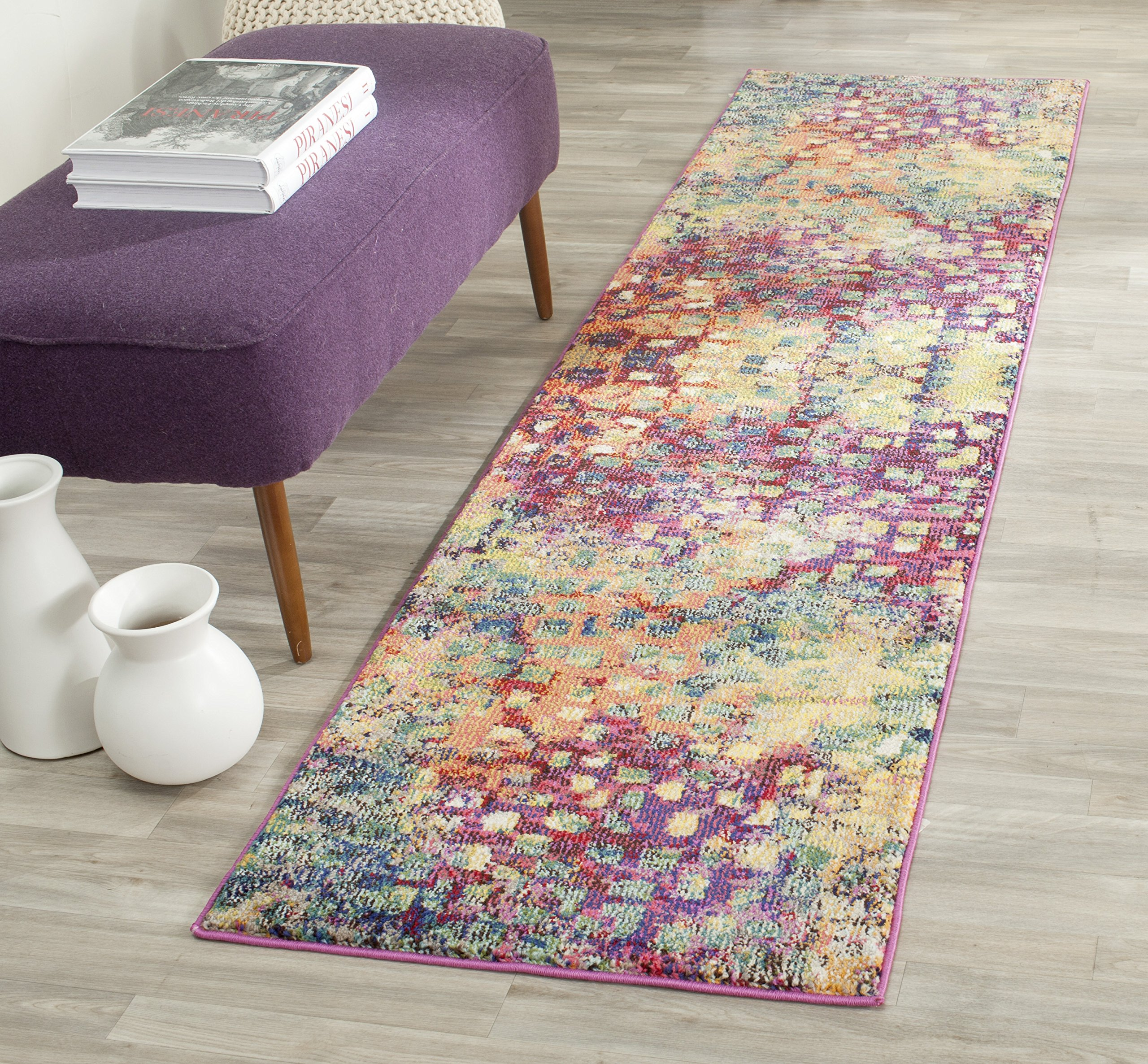"Safavieh Monaco Collection MNC225D Modern Boho Abstract Watercolor Runner, 2' 2"" x 10', Pink/Multi"