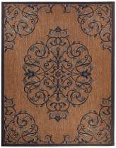 Gertmenian 21649 Outdoor Rug Freedom Collection Smart Care Deck Patio Carpet, 8x10 Large, Brown Center Medallion