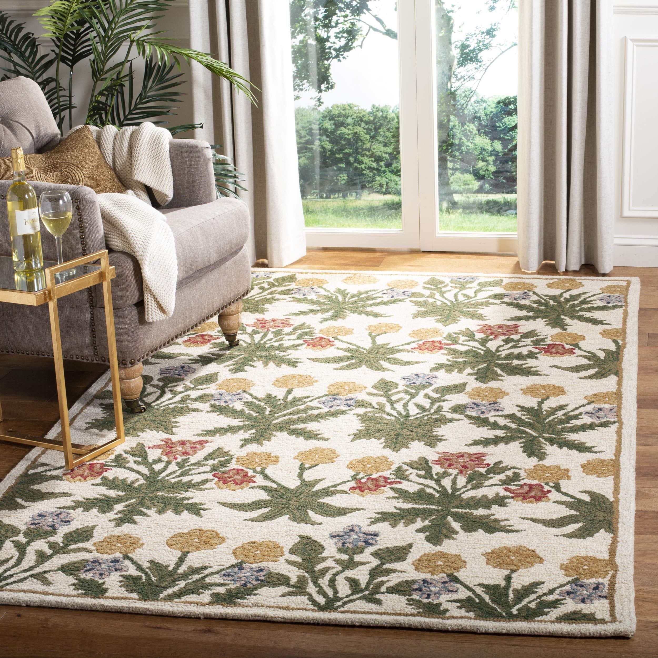 Safavieh Blossom Collection BLM151A Handmade Beige and Multi Premium Wool Area Rug (3' x 5')
