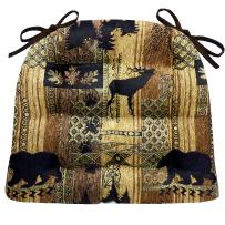 Brentwood Dining Chair Pad with Ties - Size Extra-Large - Woodlands Rustic Lodge & Lake House Decor (Brown, Gold, Black/Bear, Elk, Oak)