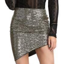 LIUMILAC Women Sequin Bodycon Mini Dresses/Skirts/Tops