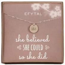 EFYTAL Half Marathon 13.1 Necklace, Sterling Silver Disk Jewelry Gift for Athlete, Sister, Niece, Daughter